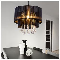 etc-shop LED-Hängeleuchte, Hängelampe Kristall Wohnzimmerleuchten Hängeleuchten Schlafzimmer Lampen Decke hängend, Garn schwarz, 1x E27, DxH 40 x 140 cm