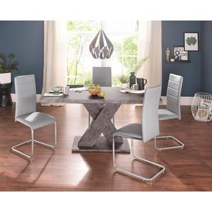 Essgruppe, (Set, 5-St), mit 4 Stühlen und Tisch in Zement-Optik grau