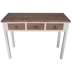 elbmöbel Konsolentisch Konsolentisch Landhaus braun weiß Holz, Sekretär: 3 Schubladen 105x81x40 cm weiß holz Landhausstil