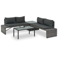 vidaXL Polyrattan Lounge-Set mit Polstern 3-tlg. grau 44720