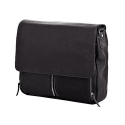 Dermata Umhängetasche aus Leder mit Notebookfach 40 cm - schwarz