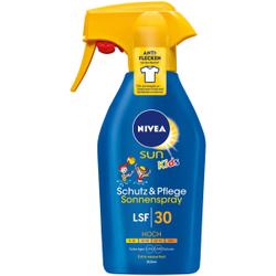 NIVEA SUN Kids Schutz & Pflege Sonnenspray, Kindersonnenspray für zuverlässigen UVA- und UVB-Sonnenschutz, 300 ml - Trigger Sprühflasche, LSF 30