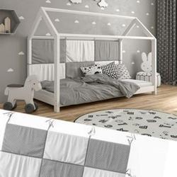Hausbett Kinderbett Bettrückwand Wiki 160x72 Grau-Weiß