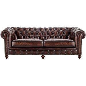 uno Sofa 3-sitzig Leder  Chesterfield ¦ braun ¦ Maße (cm): B: 230 H: 80 T: 100