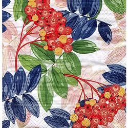 """Papierserviette """"Beeren und Blätter"""", 33 x 33 cm, 20 Stück"""