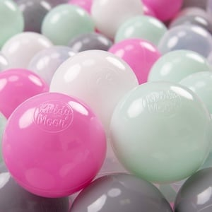 KiddyMoon 200 ∅ 7Cm Kinder Bälle Spielbälle Für Bällebad Baby Plastikbälle Made In EU, Transparent/Grau/Weiß/Hellpink/Mint