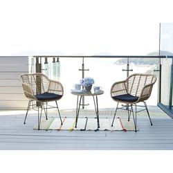 Homexperts Balkonset Ylvi, (5 tlg.), inklusive Sitzkissen und Beistelltisch, 2 Stühle mit Beistelltisch beige Gartenmöbel-Sets Gartenmöbel Gartendeko