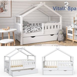 VitaliSpa Design Kinderbett 140x70 Babybett Jugendbett mit Schublade Lattenrost