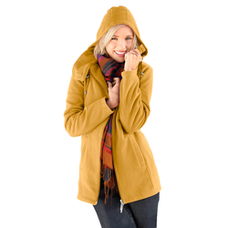 Casual Looks Fleece-Jacke mit Kordelstopper gelb Damen Fleecejacken Jacken Mäntel Jacken, lang