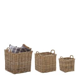 Wäschekörbe aus Rattan Graubraun (dreiteilig)