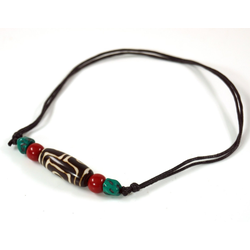 Guru-Shop Perlenkette Ethno Amulet, tibetische DZI Halskette,..