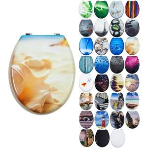 Grafner MDF WC Sitz viele schöne Motive zur Auswahl - stabile Qualität - einfache Montage WC Deckel Klobrille (Shell)
