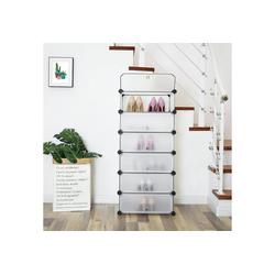 SONGMICS Schuhschrank LPC06W DIY Schuhregal mit 6 Türen, aus Kunststoff, weiß