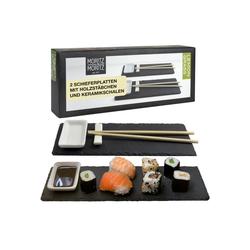 Moritz & Moritz Servierplatte Servierplatte - Schieferset Lemon Grass, Schiefer, Keramik, Bambus, Schiefer Suhsi Set - Sushi Geschirr