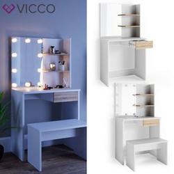 VICCO LED Schminktisch DEKOS Frisiertisch Kommode Kosmetiktisch Weiß Eiche Bank