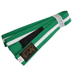 Kinder BJJ Gürtel grün-weiß m. Bar (Größe: 220, Farbe: Grün/Weiß)
