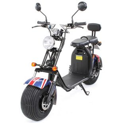 eFlux Harley Two Elektro Scooter mit Straßenzulassung 1500 Watt 60 Volt UK Flagge