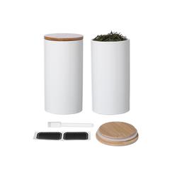 Praknu Vorratsdose 2 Keramik Dosen Groß Set Weiß, Keramik, (Set, 2-tlg., 2 x Keramik Vorratsdosen), - mit Deckel - 2er Set 900ml - inkl. Etiketten Stift - Luftdicht