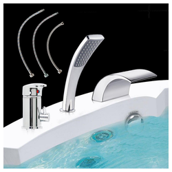 Mucola Badarmatur Armatur Badewannenarmatur Wasserhahn Set Wannenarmatur Einhebelmischer 3 Loch