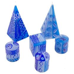 Afrika-Deko Formkerze 6er-Kerzenset blau