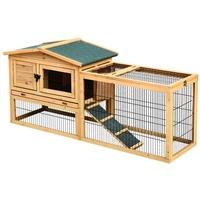PawHut Kaninchenstall mit Freigehege beige