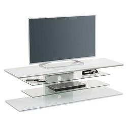 TV Rack aus Weißglas und Stahl 140 cm breit
