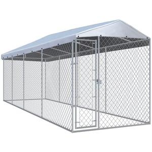 vidaXL Hundezwinger vidaXL Outdoor-Hundezwinger mit Überdachung 760x190x225 cm silberfarben