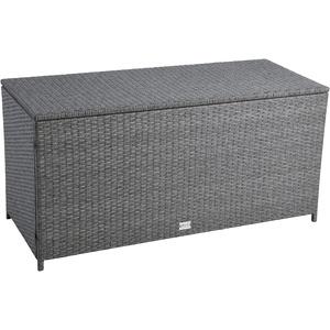 IHD Polyrattan Auflagenbox Kissenbox Gartenbox Gartentruhe Aufbewahrungsbox Auflagentruhe Aufbewahrungstruhe Kissentruhe (Grau-Mix)