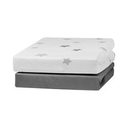 Bettlaken 2er Pack Jersey Spannlaken, weiß/blau, 70 x 140 cm, Urra grau