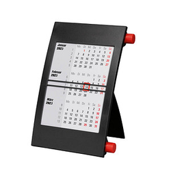 Tischkalender Drehkalender 2022/2023 schwarz/rot