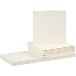 15 cm x 15 cm Karten/Umschläge - Creme - 50 Sets