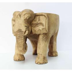 Oriental Galerie Blumenhocker Elefantenhocker Holz Natur, Handarbeit