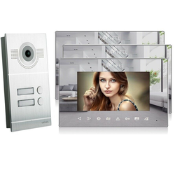 Video Türsprechanlage mit 3 Spiegelmonitore - Silber Kamera Fischauge
