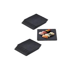 relaxdays Servierplatte 12 x Schieferplatte quadratisch, Schiefer