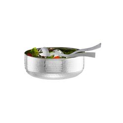 relaxdays Salatschüssel Salatschüssel mit Besteck, Edelstahl