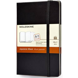 Notizbuch Japanisches Album Pocket 9x14cm 165g/qm Hardcover schwarz