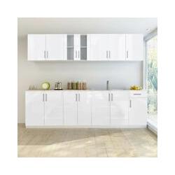 8-tlg. Küchenzeile Hochglanz Weiß 260 cm 08856 - Topdeal