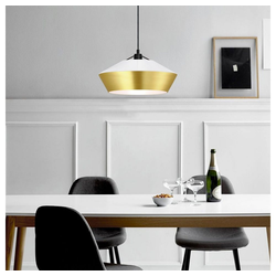 s.LUCE Pendelleuchte LED SkaDa Ø 40cm in Weiß, Gold