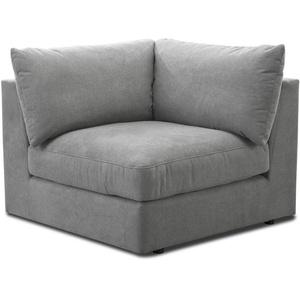"""CAVADORE Sofa-Modul """"Fiona"""" Spitzecke / Ecke für Wohnlandschaft oder XXL-Sessel / 107 x 90 x 107 / Webstoff silbergrau"""