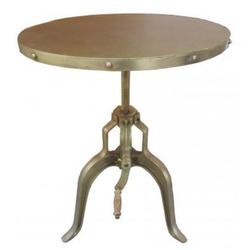 Casa Padrino Industrial Beistelltisch mit Kurbel Gold 75 x H. 72-98 cm - Designer Hotel Möbel - Industrial Design Tisch