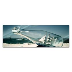Bilderdepot24 Wandbild, Glasbild - Buddelschiff - Schiff in der Flasche 120 cm x 40 cm