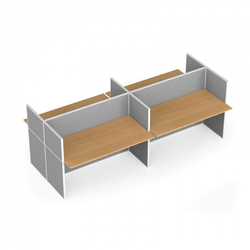 Tischtrennwand-set mit tisch, textil, 4 plätze, birke