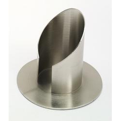 Röhren Hochzeitskerzenhalter mit Schlitz, Messing Silber matt gebürstet für Ø 8 cm Hochzeitskerzen