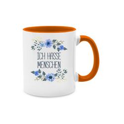 Shirtracer Tasse Ich hasse Menschen Blumen - Tasse zweifarbig - Tassen, Sprüche