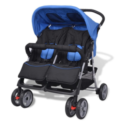 PHOEBE CAT Geschwisterwagen, Baby Zwillingswagen Zwillingskinderwagen Zwillingsbuggy Stahl, 93 x 68 x 103 cm blau