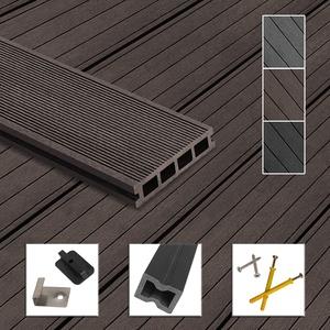 Montafox WPC Terrassendielen Dielen Komplettset Hohlkammerdiele Komplettbausatz Unterkonstruktion Clips, Größe (Fläche):60 m2 4m, Farbe:Dunkelbraun
