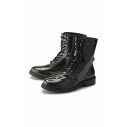 Schnür-Boots Lack-Boots COX mittelgrau