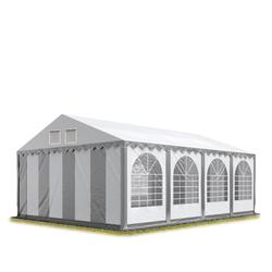 Toolport Partyzelt 6x8m PVC 550 g/m² grau wasserdicht Gartenzelt, Festzelt, Pavillon