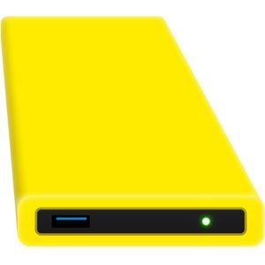 HipDisk GL 120GB SSD Externe Festplatte (6,4 cm (2,5 Zoll), USB 3.0) tragbare portable mit austauschbarer Silikon-Schutzhülle stoßfest wasserabweisend gelb