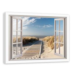 HomeLiving Bild mit Rahmen geöffnetes Fenster zum Weg zum Strand, Motiv siehe Bild/Beschreibung